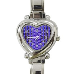 Blue Black Geometric Pattern Heart Italian Charm Watch