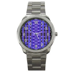 Blue Black Geometric Pattern Sport Metal Watch