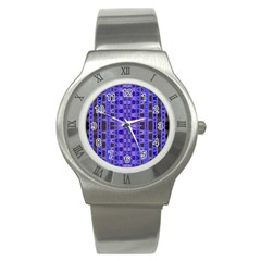 Blue Black Geometric Pattern Stainless Steel Watch
