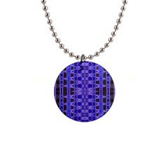 Blue Black Geometric Pattern Button Necklaces