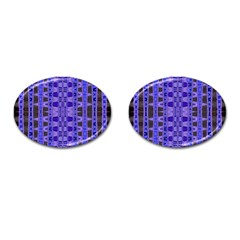 Blue Black Geometric Pattern Cufflinks (Oval)