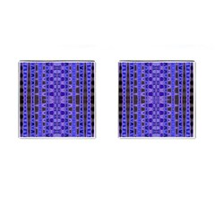 Blue Black Geometric Pattern Cufflinks (Square)