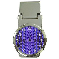 Blue Black Geometric Pattern Money Clip Watches