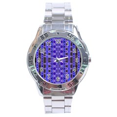 Blue Black Geometric Pattern Stainless Steel Analogue Watch