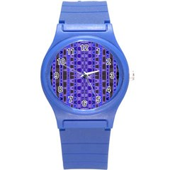 Blue Black Geometric Pattern Round Plastic Sport Watch (S)