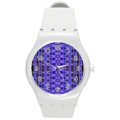 Blue Black Geometric Pattern Round Plastic Sport Watch (M)