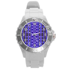 Blue Black Geometric Pattern Round Plastic Sport Watch (L)