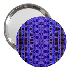 Blue Black Geometric Pattern 3  Handbag Mirrors