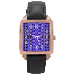Blue Black Geometric Pattern Rose Gold Leather Watch