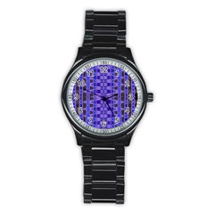 Blue Black Geometric Pattern Stainless Steel Round Watch