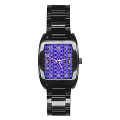Blue Black Geometric Pattern Stainless Steel Barrel Watch