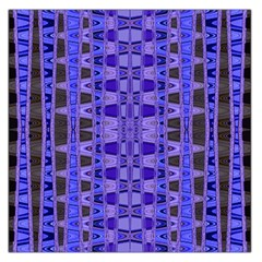 Blue Black Geometric Pattern Large Satin Scarf (Square)