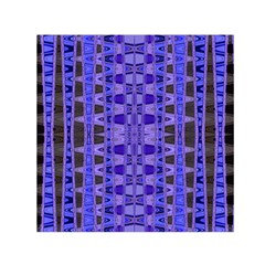 Blue Black Geometric Pattern Small Satin Scarf (Square)