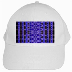 Blue Black Geometric Pattern White Cap