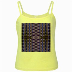 Blue Black Geometric Pattern Yellow Spaghetti Tank