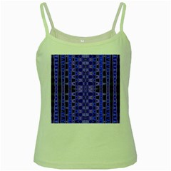 Blue Black Geometric Pattern Green Spaghetti Tank