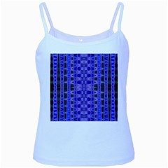 Blue Black Geometric Pattern Baby Blue Spaghetti Tank