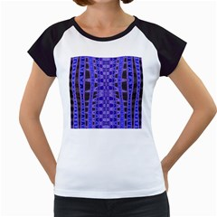Blue Black Geometric Pattern Women s Cap Sleeve T