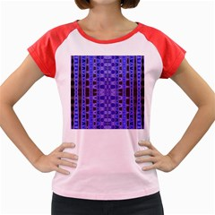 Blue Black Geometric Pattern Women s Cap Sleeve T-Shirt
