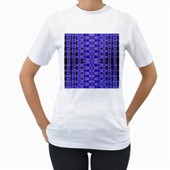 Blue Black Geometric Pattern Women s T-Shirt (White) (Two Sided)