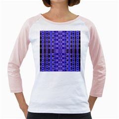 Blue Black Geometric Pattern Girly Raglans
