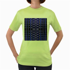 Blue Black Geometric Pattern Women s Green T-Shirt
