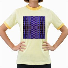Blue Black Geometric Pattern Women s Fitted Ringer T Shirts by BrightVibesDesign
