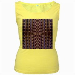 Blue Black Geometric Pattern Women s Yellow Tank Top by BrightVibesDesign