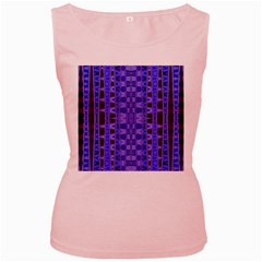 Blue Black Geometric Pattern Women s Pink Tank Top