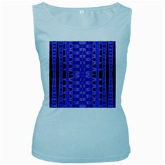 Blue Black Geometric Pattern Women s Baby Blue Tank Top