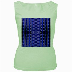 Blue Black Geometric Pattern Women s Green Tank Top by BrightVibesDesign