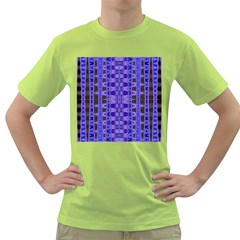 Blue Black Geometric Pattern Green T-Shirt