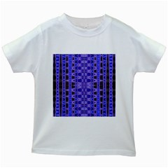Blue Black Geometric Pattern Kids White T-Shirts by BrightVibesDesign