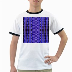 Blue Black Geometric Pattern Ringer T-Shirts