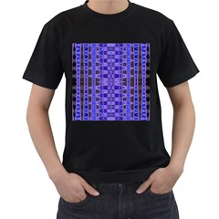 Blue Black Geometric Pattern Men s T-Shirt (Black) (Two Sided)