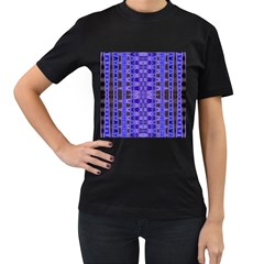 Blue Black Geometric Pattern Women s T-Shirt (Black) (Two Sided)