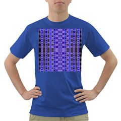Blue Black Geometric Pattern Dark T-Shirt by BrightVibesDesign