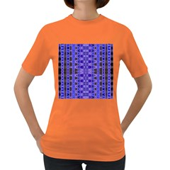 Blue Black Geometric Pattern Women s Dark T Shirt by BrightVibesDesign