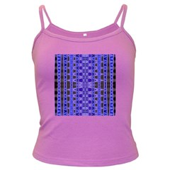 Blue Black Geometric Pattern Dark Spaghetti Tank