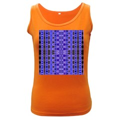Blue Black Geometric Pattern Women s Dark Tank Top by BrightVibesDesign
