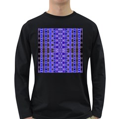 Blue Black Geometric Pattern Long Sleeve Dark T-Shirts
