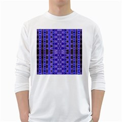 Blue Black Geometric Pattern White Long Sleeve T-Shirts