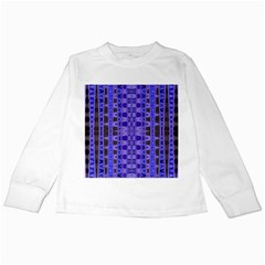 Blue Black Geometric Pattern Kids Long Sleeve T Shirts by BrightVibesDesign