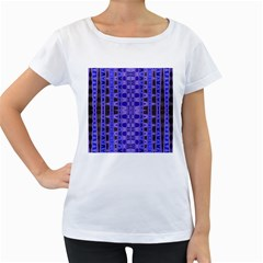 Blue Black Geometric Pattern Women s Loose-Fit T-Shirt (White) by BrightVibesDesign