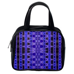 Blue Black Geometric Pattern Classic Handbags (One Side)