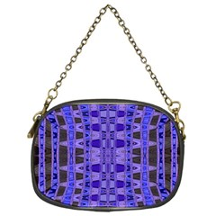 Blue Black Geometric Pattern Chain Purses (One Side)