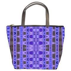 Blue Black Geometric Pattern Bucket Bags