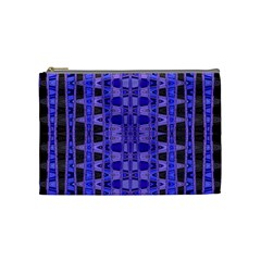 Blue Black Geometric Pattern Cosmetic Bag (Medium)