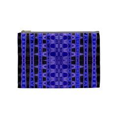 Blue Black Geometric Pattern Cosmetic Bag (medium)  by BrightVibesDesign