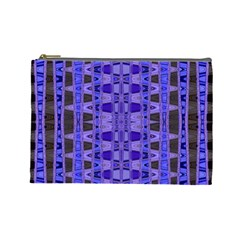 Blue Black Geometric Pattern Cosmetic Bag (Large)